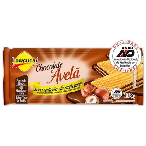 Wafer Chocolate e Avelã  Zero Açúcar Lowçucar 115g