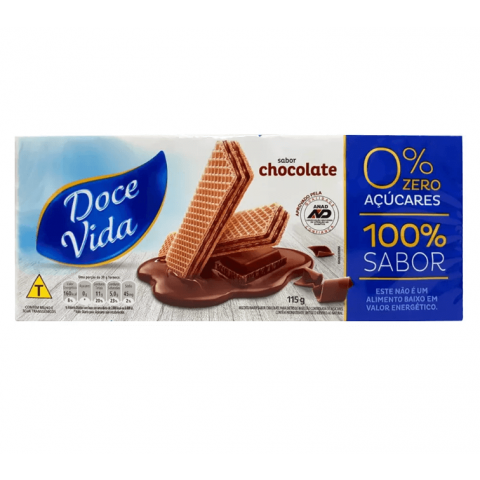 Wafer Diet Chocolate Doce Vida 115g