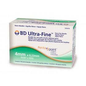 Agulhas para caneta de insulina BD 4mm Nano PentaPoint Ultra Fine Caixa com 100 Unidades