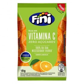 Bala de Gelatina Zero Açúcar com Vitamina C Laranja Fini 18g