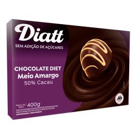 Chocolate Meio Amargo 50% Cacau Sem Adição de Açúcar Diatt 400g