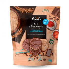 Biscoito de Arroz Integral com Chocolate Amargo Zero Açúcar Vegano Naturatta 60g