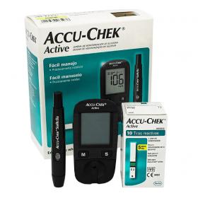 Medidor de Glicose Accu-Chek Active Roche (acompanha 10 tiras reagentes)