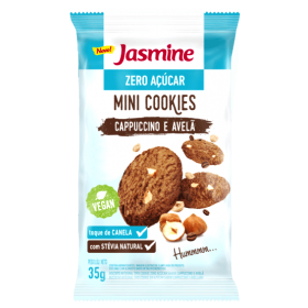 Mini Cookies Zero Açúcar Vegano Cappuccino e Avelã Jasmine 35g