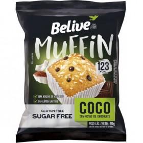 Muffin Sem Adição de Açúcar Coco com Gotas de Chocolate Belive 40g