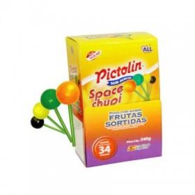 Pirulitos Pictolin Frutas Sortidas  Sem Açúcar Display com 37 Unidades