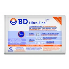 Seringa BD Ultra-Fine 50 UI com Agulha de 6mm 10 Unidades