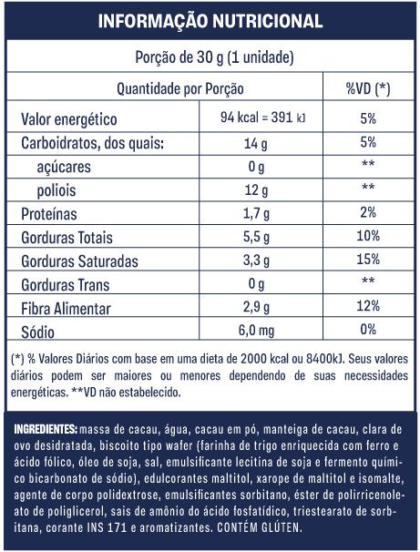 Tabela nutricional Musa 70% Cacau Goldko